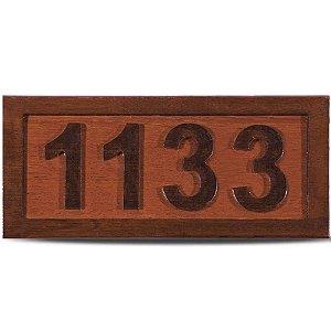 Placa de Madeira Entalhada 4 Números