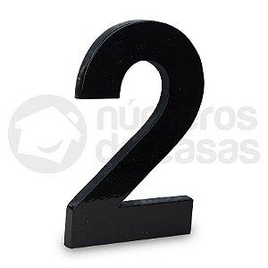 "Número ""2"" de Aluminio Moderno Preto 18x1cm"