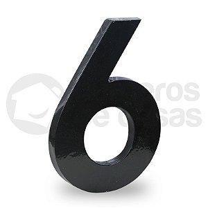 "Número ""6"" de Aluminio moderno Preto 18x1cm"