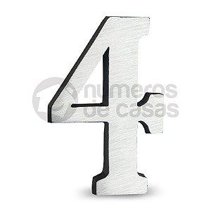 """Número """"4"""" de Alumínio Escovado 18x1,2cm"""