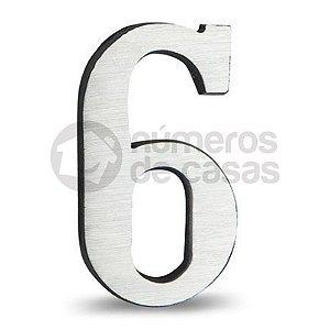 """Número """"6"""" de Alumínio Escovado 18x1,2cm"""