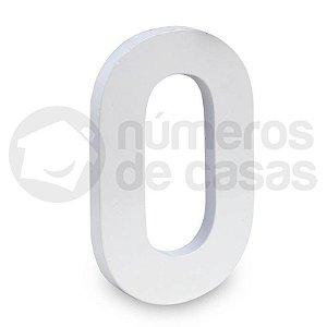 """Número """"0"""" de Aluminio Moderno Branco 18x1cm"""