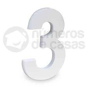 """Número """"3"""" de Aluminio Moderno Branco 18x1cm"""