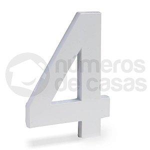 """Número """"4"""" de Aluminio Moderno Branco 18x1cm"""