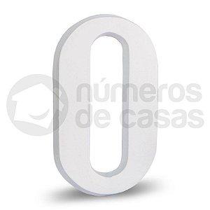 """Número """"0"""" Branco de Alumínio 18x1,2cm"""