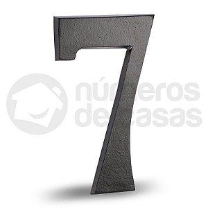 """Número """"7"""" Preto de Alumínio 18x1,2cm"""