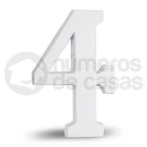 """Número """"4"""" Branco de Alumínio 18x1,2cm"""