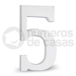"""Número """"5"""" Branco de Alumínio 18x1,2cm"""
