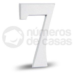 """Número """"7"""" Branco de Alumínio 18x1,2cm"""