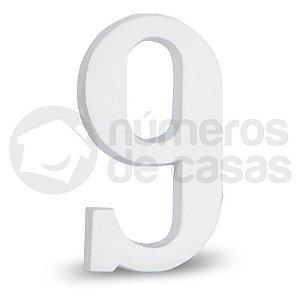 """Número """"9"""" Branco de Alumínio 18x1,2cm"""