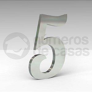 """Número """"5"""" de Inox Polido Manuscrito 304 18x2cm"""