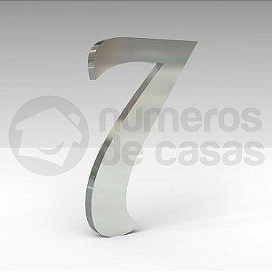 """Número """"7"""" de Inox Polido Manuscrito 304 18x2cm"""