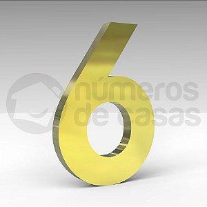 """Número """"6"""" de Latão Dourado 20x2cm"""