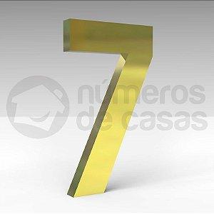 """Número """"7"""" de Latão Dourado 20x2cm"""