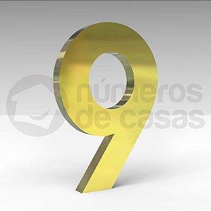 """Número """"9"""" de Latão Dourado 20x2cm"""