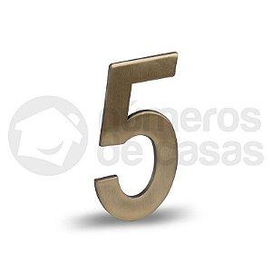 """Número """"5"""" Dourado Liso 12,5cm"""