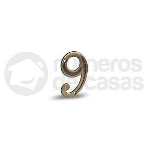 """Número """"9"""" Dourado 4,0cm"""