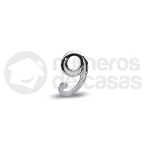 "Número ""9"" Cromado 4,0cm"