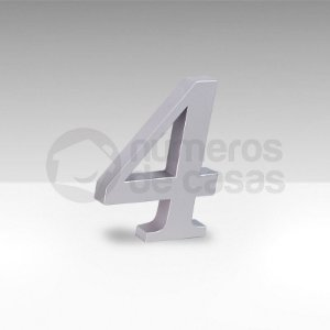 "Número ""4"" Prata Sintético"