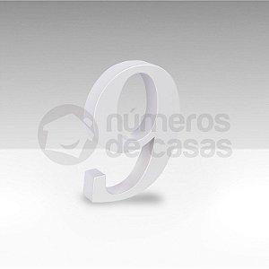 "Número ""9"" Branco Sintético"