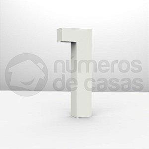 """Números """"1"""" Galvanizado Branco 12x2,0cm"""