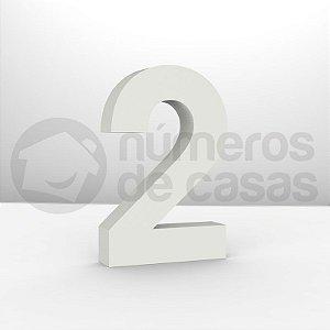 """Números """"2"""" Galvanizado Branco 12x2,0cm"""