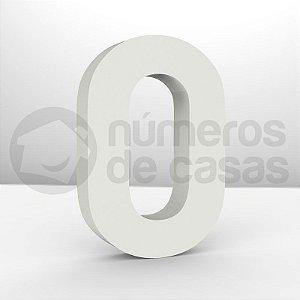 """Números """"0"""" Galvanizado Branco 18x3,0cm"""