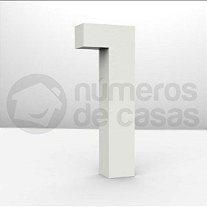 """Números """"1"""" Galvanizado Branco 18x3,0cm"""
