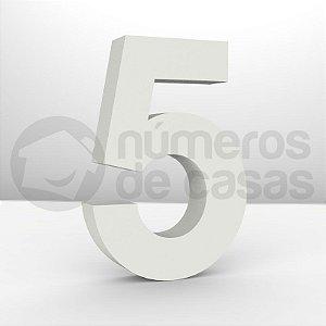 """Números """"5"""" Galvanizado Branco 18x3,0cm"""