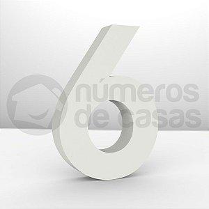 """Números """"6"""" Galvanizado Branco 18x3,0cm"""