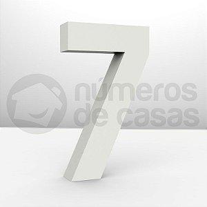 """Números """"7"""" Galvanizado Branco 18x3,0cm"""