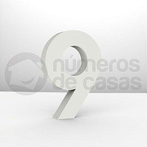 """Números """"9"""" Galvanizado Branco 12x2,0cm"""