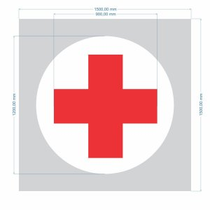 Stencil Símbolo Indicativo de Serviços de Saúde  (SAS) 2 Cores- Molde Vazado