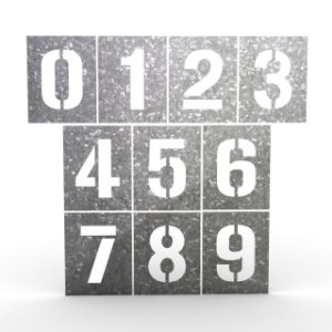 Números Stencil em Chapa Pacote 0 ao 9