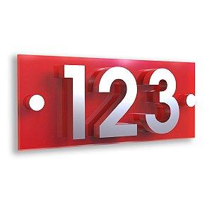 Kit Placa de Acrílico Vermelha com 3 Números de Inox
