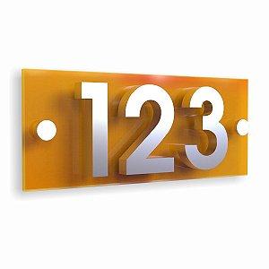 Kit Placa de Acrílico Amarela com 3 Números de Inox