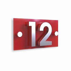 Kit Placa de Acrílico Vermelha com 2 Números de Inox