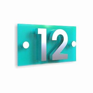 Kit Placa de Acrílico Azul com 2 Números de Inox