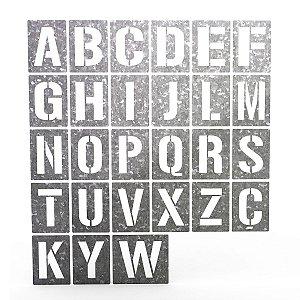 Alfabeto Stencil em Chapa Pacote A ao Z