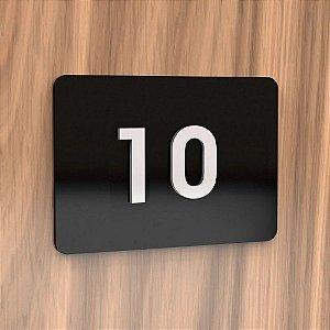 Placa de Acrílico para Apartamento com 2 Números Cor Preta