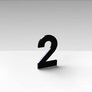 """Número """"2"""" de Apartamento em Acrílico Preto 5cm"""