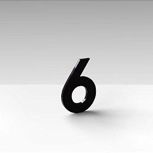 """Número """"6"""" de Apartamento em Acrílico Preto 5cm"""