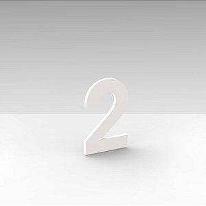 """Número """"2"""" de Apartamento em Acrílico Branco 5cm"""