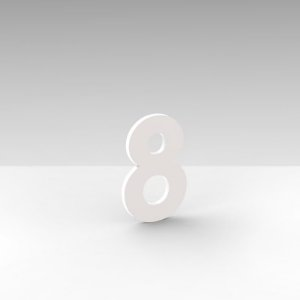 """Número """"8"""" de Apartamento em Acrílico Branco 5cm"""
