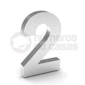 """Número """"2"""" de Inox Polido 304 18x2cm"""