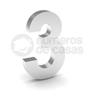 """Número """"3"""" de Inox Polido 304 18x2cm"""