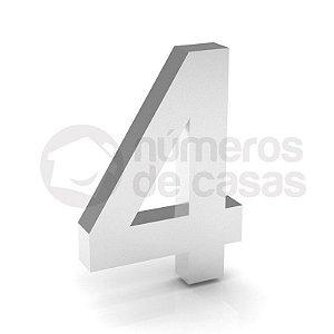 """Número """"4"""" de Inox Polido 304 18x2cm"""