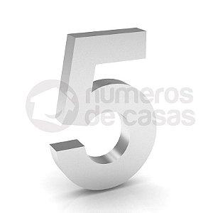 """Número """"5"""" de Inox Polido 304 18x2cm"""