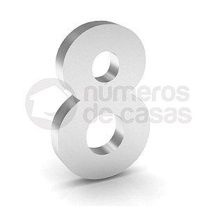 """Número """"8"""" de Inox Polido 304 18x2cm"""