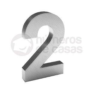 """Número """"2"""" de Inox Escovado 304 18x2cm"""